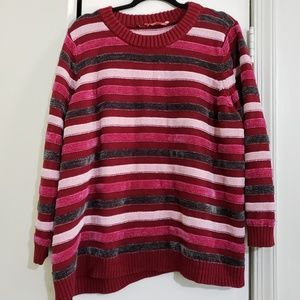 Modcloth Sweaters - Pink Red Gray Striped Chenille Sweater
